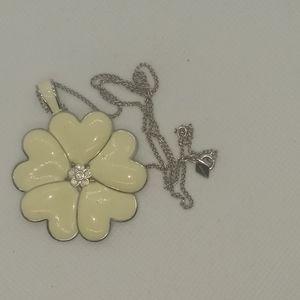 Lia Sophia Silver & White Hearts Flower Necklace